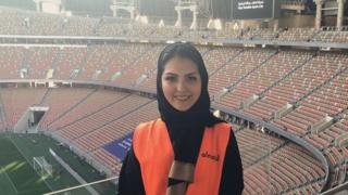 Sarah Alkashgari at the first football match in Saudi history that permitted female spectators
