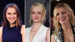 A composite image showing the faces of, left to right: Natalie Portman, Emma Stone, Cate Blanchett, all smiling