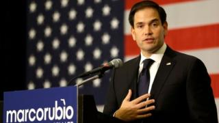 Senator Marco Rubio speaks at a primary election party in Kissimmee, Florida.