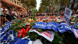 Место теракта в Барселоне