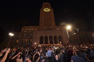 The Batman Bat-signal is projected onto Los Angeles City Hall in a tribute to the late actor Adam West, 15 June, 2017, in Los Angeles, California