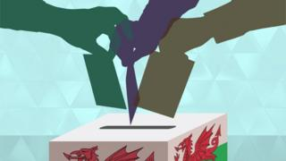 Ballot box with Welsh flag