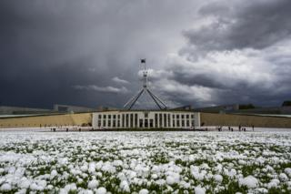 Golf ball-sized hail is shown at Parliament House in Canberra on January 20