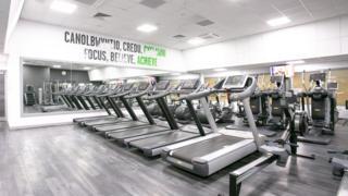 A room of treadmills