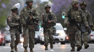 National Guard forces on streets of Hollywood