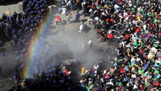 Police shoot tear gas at crowds in Algeria