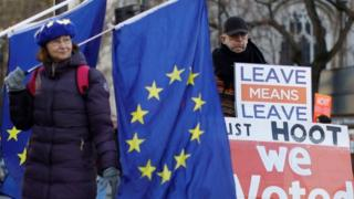 Pro- and anti-EU demonstrators