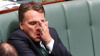 Jamie Briggs pulls a face in parliament