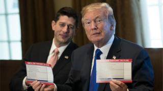 peaker of the House Paul Ryan looks on as President Donald Trump speaks about tax reform legislation in the Cabinet Room at the White House, November 2, 2017 in Washington, DC. On Thursday, Republican lawmakers unveiled their plans for a massive rewrite of the U.S. tax code.