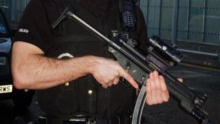 Armed officer at Edinburgh airport