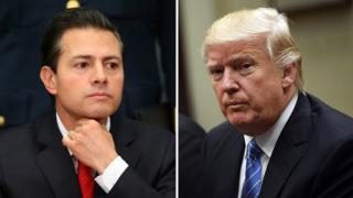 Mexican President Enrique Pena Nieto (L) and US President Donald Trump