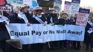 women at equal pay march in Glasgow