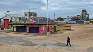 Closed seafront stalls at Easter