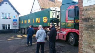 Lorry stuck in Walkern High Street