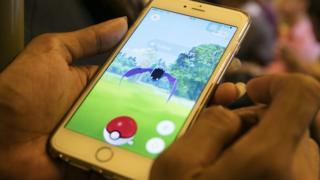Pokemon Go displayed on a smartphone