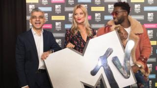 Mayor of London Sadiq Khan with MTV presenter Laura Whitmore and Tinie Tempah