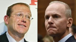 This combination of pictures created on December 23, 2019 shows a file photo taken on February 16, 2004 of the president of General Electoric (GE) Transportation, David Calhoun (L), and a file photo of Boeing CEO Dennis Muilenburg at a hearing in front of congressional lawmakers on Capitol Hill in Washington, DC on October 30, 2019