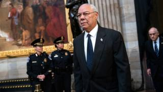 Colin Powell arrives to pay his respects to the late former President George W Bush at the US Capitol on 4 December 2018 in Washington DC