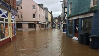 Some streets in the Whitesands area of Dumfries were partially under water