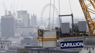Carillion sign on crane