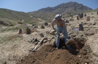 An Afghan man digs a grave, 2018