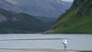 Ennerdale Water with low water levels in 2010