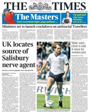 Times front page 5th April
