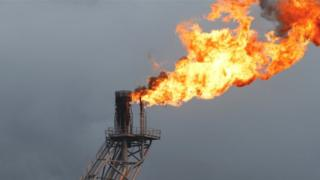 Flare on oil rig