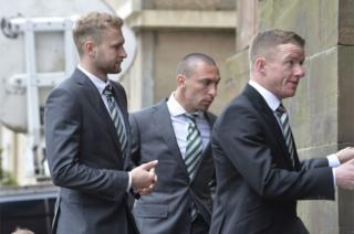 Celtic players Scott Bain, Scott Brown and Johnny Hayes