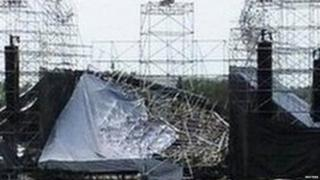The collapsed stage at Downsview Park in Toronto is shown June 16, 2012