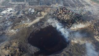 Blast left a large hole at the scene of the chemical explosion in Tianjin in August 2015