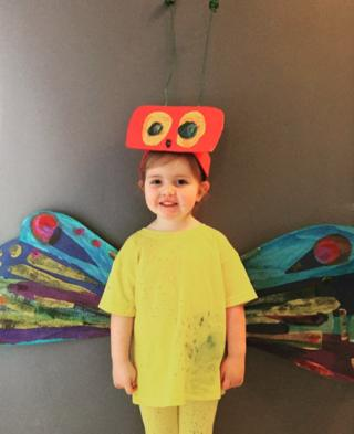 Etta as butterfly from Hungry Caterpillar