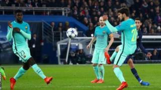 Muuqaal ka mida ciyaartii PSG iyo Barcelona dhex martay