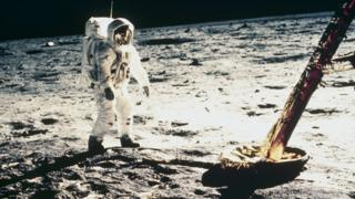Astronaut Buzz Aldrin on the Moon surface in 1969