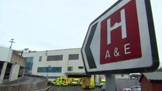 Queues of ambulances at Bronglais Hospital in Aberystwyth last week