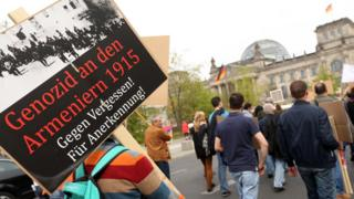 Members of the local Armenian community demonstrate for Turkey's recognition of the Armenian Genocide on its 100th anniversary on April 25, 2015 in Berlin, Germany.
