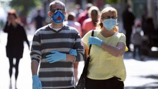 Shoppers wear masks in Newport, Wales on 14 September