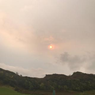 This was Jen's view of the red sun and eerie skies at Clachan