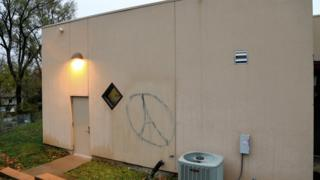 The Omaha Islamic Center with an Eiffel Tower in graffiti after the Paris attacks