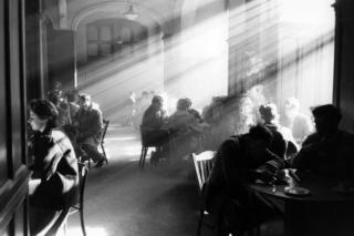 Students gathered drinking coffee in the student union, 1964.