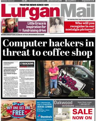 Front page Lurgan Mail Thursday 27 July 2017