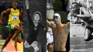 Usain Bolt, Larisa Latynina, Michael Phelps y Jessie Owen