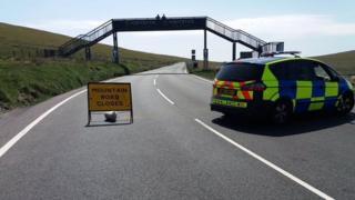 Road closure sign, Isle of Man Mountain Road