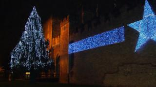 The tree is usually placed outside Cardiff Castle, like this one previously