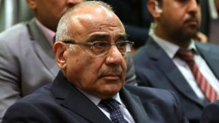 Adel Abdul Mahdi sits in the Iraqi parliament in Baghdad on 2 October 2018