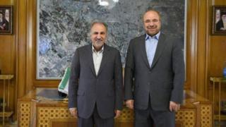 دیدار محمدباقر قالیباف (راست) با محمدعلی نجفی در اتاق شهردار تهران در خیابان بهشت