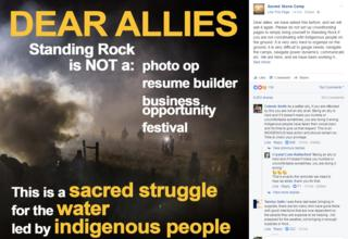 Post of an image by the main camp protesting against the North Dakota pipeline