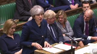 Theresa May addressing MP