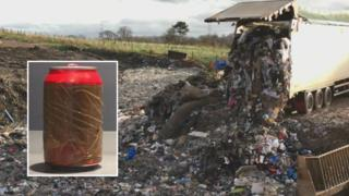 Cory Environmental's 30-hectare Hafod Landfill site, near Johnstown, Wrexham and a drink can (inset)