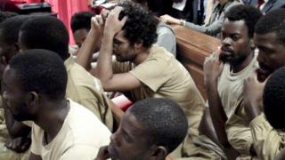 The 17 Angolans activists, 15 of which are in custody, accused of preparatory acts of rebellion, were this morning present on trial in the Court of Benfica in Luanda, Angola, 16 November 2015.